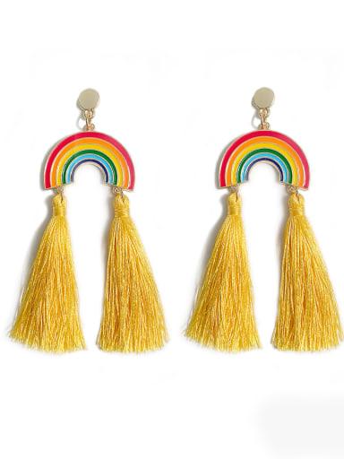 Yellow e68791 Alloy Cotton Rope Rainbow Bohemia Cotton Rope Drop Earring