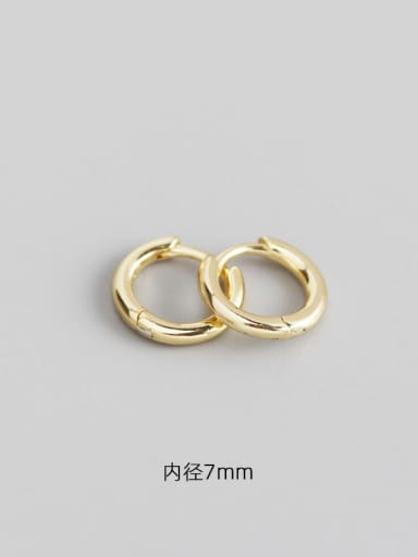 2#7mm gold 925 Sterling Silver Geometric Minimalist Huggie Earring
