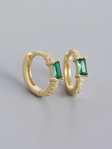 Gold (greenstone) 925 Sterling Silver Cubic Zirconia Geometric Minimalist Huggie Earring