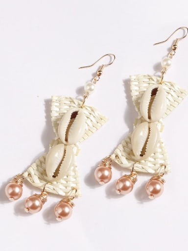 Champagne e68601 Hand-woven alloy shell bow bohemian Hand-woven drop earrings