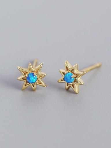 Gold 925 Sterling Silver Opal Star Minimalist Huggie Earring