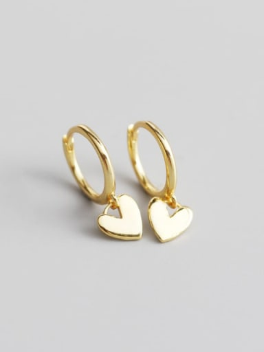 Gold 925 Sterling Silver Heart Trend Huggie Earring