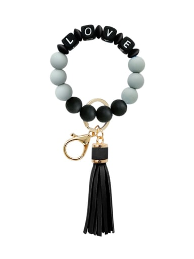Alloy Silicone Bead Tassel Bracelet /Key Chain