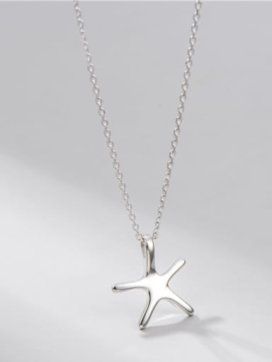 925 Sterling Silver Smooth Star Minimalist Necklace