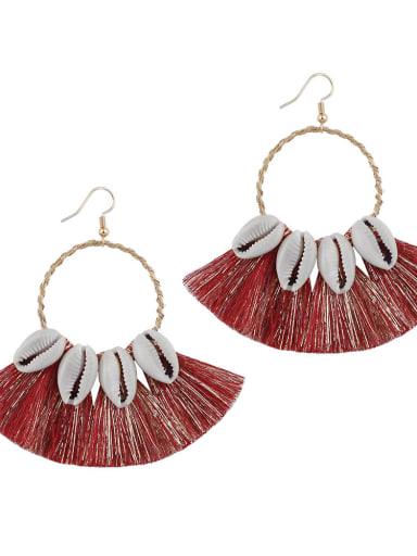 E68580 Alloy Cotton Tassel Bohemia Hand-woven Drop Earring