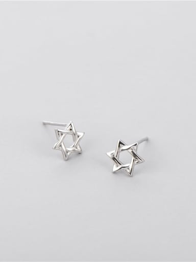 Six pointed star Earrings 925 Sterling Silver Star Minimalist Necklace