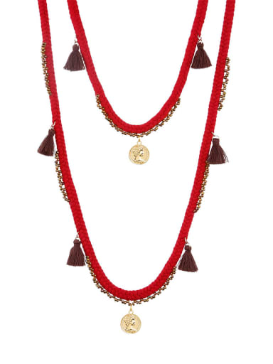 Red n70240 Alloy Bead Cotton Rope Tassel Bohemia  Hand-Woven  Long Strand Necklace
