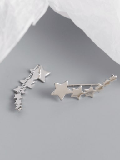 Platinum 925 Sterling Silver Star Minimalist Stud Earring