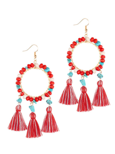 Red e68751 Alloy Turquoise Cotton Tassel  Geometric Bohemia Hand-Woven Drop Earring