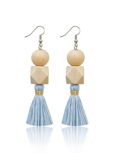 Blue e68836 Alloy Bead Wood Tassel Bohemia  Hand-Woven Drop Earring