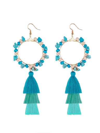 E68744 Alloy Bead Cotton Turquoise Tassel Bohemia  Hand-Woven Drop Earring