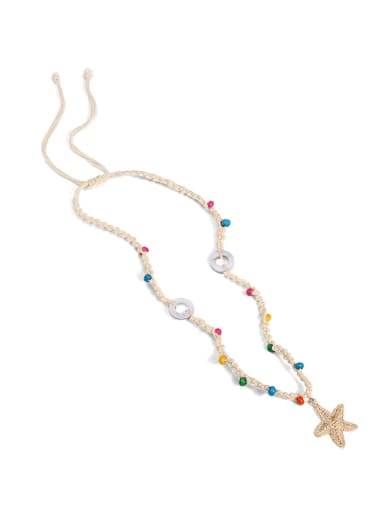 Off white n70248 Alloy Shell Cotton Beads Rope  Star Hand-Woven Artisan Lariat Necklace