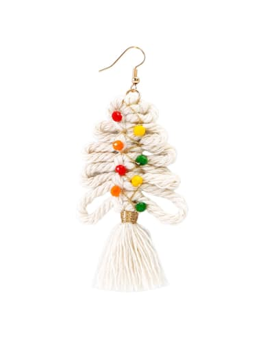 E68849 Alloy Cotton Rope Tree Tassel Christmas Bossian Style Hand-Woven Drop Earring