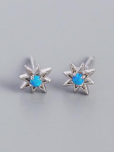 Platinum 925 Sterling Silver Opal Star Minimalist Huggie Earring