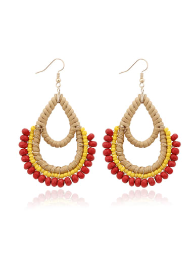 Red Bead Multi Color Water Drop Bohemia Hand-woven Drop Earring