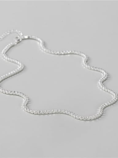 silver 925 Sterling Silver Cubic Zirconia Geometric Minimalist Necklace