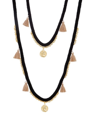Black n70240 Alloy Bead Cotton Rope Tassel Bohemia  Hand-Woven  Long Strand Necklace