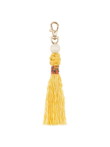 K68152 Alloy Bead Cotton Rope Tassel Artisan Hand-Woven Bag Pendant