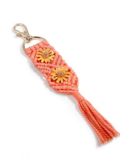 K68191 Alloy Cotton Rope Tassel Bohemia Hand-Woven Bag Pendant