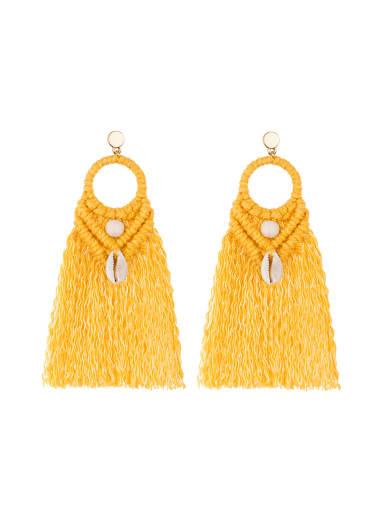 Alloy Shell Cotton Tassel Bohemia  Hand-woven  Drop Earring