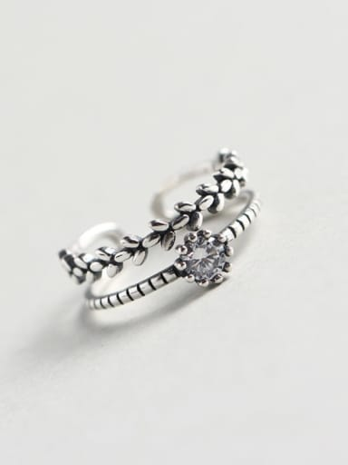 925 Sterling Silver Cubic Zirconia White Leaf Vintage Stackable Ring