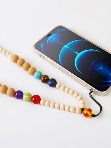 Khaki n80001 Bead Silicone Trend Beaded  Hand-Woven Mobile Phone Straps/Necklace