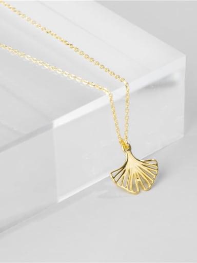 Gold 925 Sterling Silver Leaf Minimalist Necklace