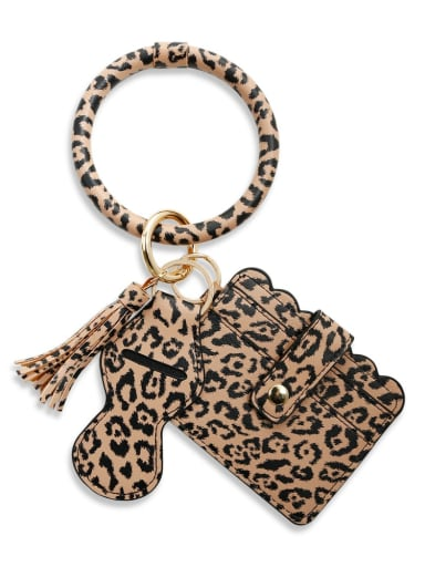 Coffee leopard k68216 Alloy Leather Leopard Card package Hand Ring Key Chain