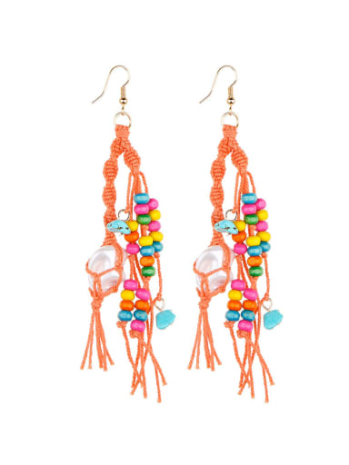 Alloy Turquoise Cotton Rope  Wooden beads Tassel Artisan Hand-Woven Drop Earring
