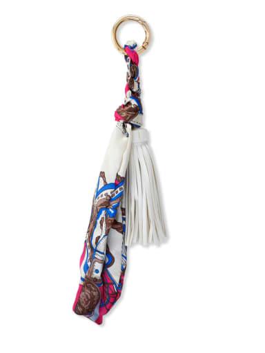 White k68033 Alloy Silk Leather Tassel Artisan Hand-Woven Bag Pendant