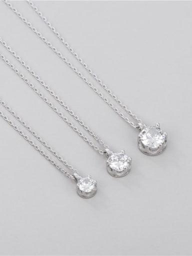 Medium: single diamond six claw Necklace 925 Sterling Silver Cubic Zirconia Geometric Minimalist Necklace