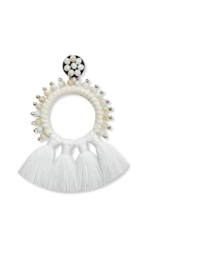 White e68832 Alloy Bead Cotton Rope Tassel Bohemia Hand-Woven Drop Earring