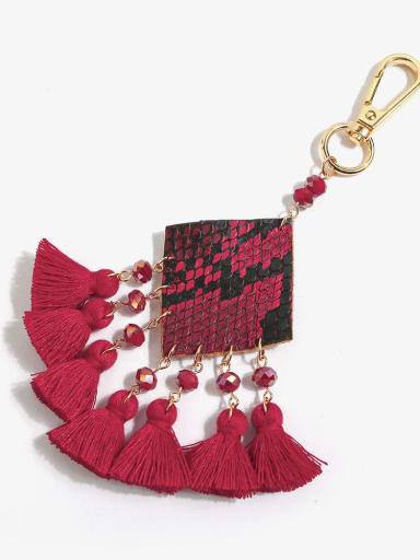 Red k68093 Alloy Bead Leather Tassel Bohemia Hand-Woven  Bag Pendant