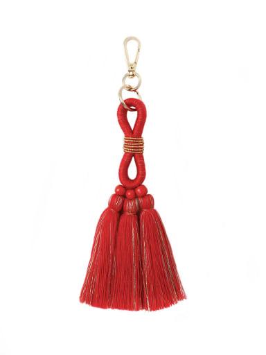 Red k68194 Alloy Bead Cotton Rope  Tassel Hand-Woven Bohemia Bag Pendant
