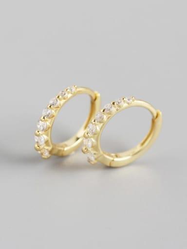2#Golden (white stone) 925 Sterling Silver Cubic Zirconia Multi Color Geometric Minimalist Huggie Earring