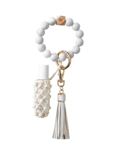 White Silicone beads + perfume bottle+hand-woven key chain/bracelet