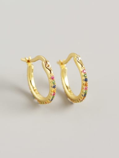 4#Gold (color) 925 Sterling Silver Cubic Zirconia Multi Color Geometric Trend Huggie Earring