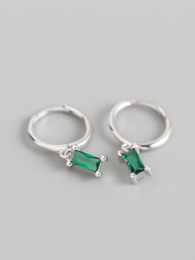 5#The green stone is white gold 925 Sterling Silver Cubic Zirconia Multi Color Geometric Minimalist Huggie Earring