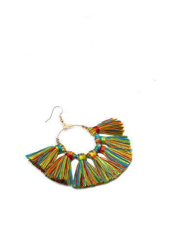 Color e68792 Copper Cotton Rope  Tassel Bohemia Hand-Woven Drop Earring