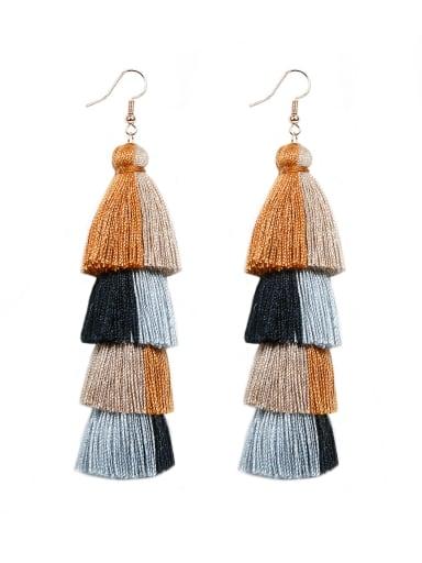 E68794 black Alloy Cotton Rope Tassel Bohemia Hand-Woven Drop Earring