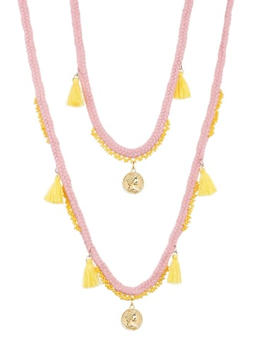 N70240 Alloy Bead Cotton Rope Tassel Bohemia  Hand-Woven  Long Strand Necklace