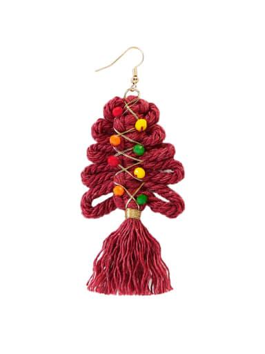 Burgundy e68849 Alloy Cotton Rope Tree Tassel Christmas Bossian Style Hand-Woven Drop Earring