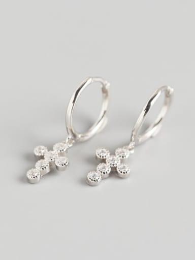Platinum 925 Sterling Silver Rhinestone White Geometric Luxury Huggie Earring