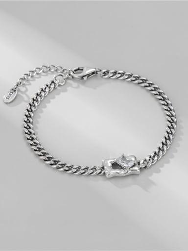 925 Sterling Silver Cubic Zirconia Irregular Vintage Link Bracelet