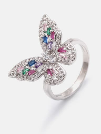 Platinum Brass Cubic Zirconia Butterfly Cute Band Ring