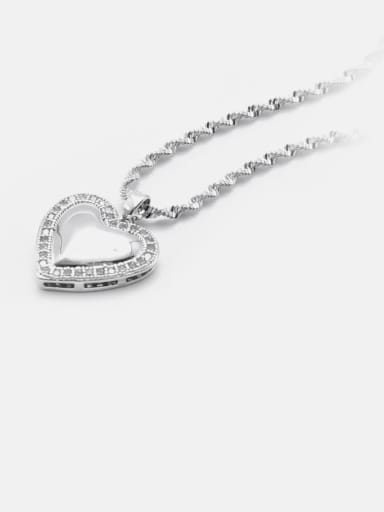 Necklace of white gold  white zircon Brass Cubic Zirconia Minimalist Heart  Earring and Necklace Set