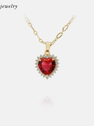 Gold white zirconium purplish red glass Brass Cubic Zirconia Minimalist Necklace