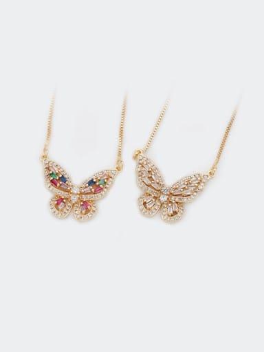 Brass Cubic Zirconia Butterfly Dainty Necklace