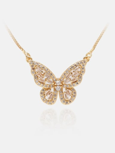 Golden white Brass Cubic Zirconia Butterfly Dainty Necklace