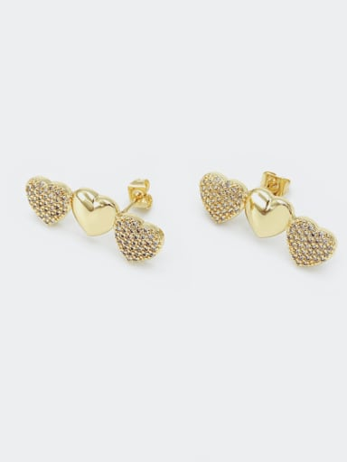Gold white zirconium Brass Cubic Zirconia Heart Dainty Drop Earring